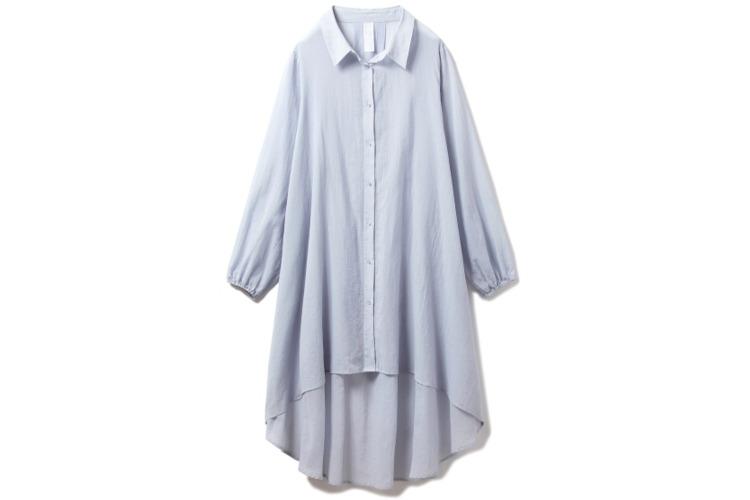 【かわいいルームウェア8】ジェラートピケの コットンシフォンシャツドレス