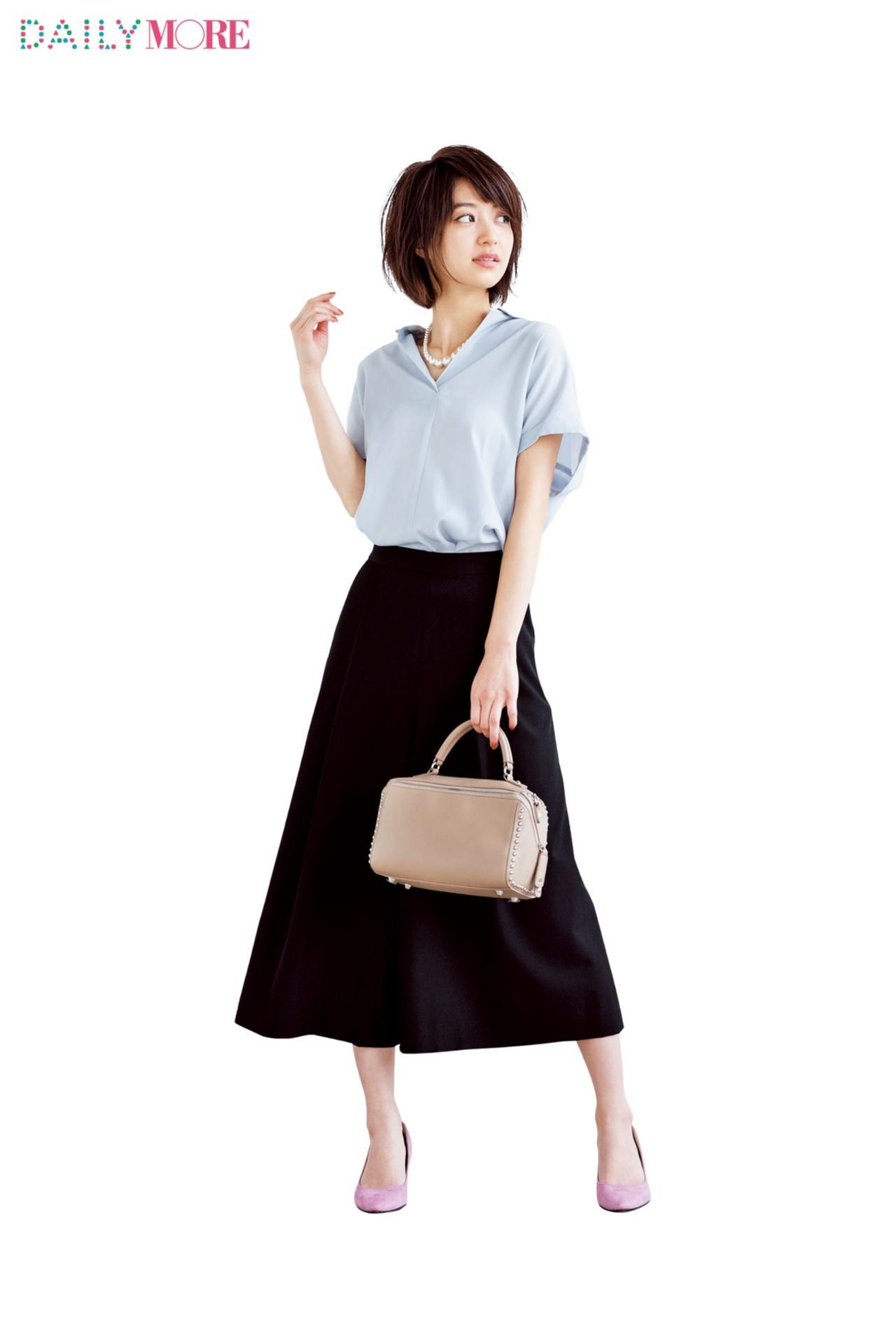 【今日のコーデ/逢沢りな】上司との会食がある水曜日はスキッパーシャツで好印象狙い!_1