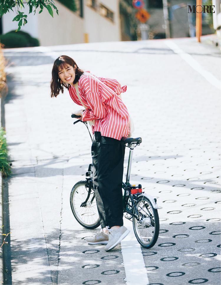 自転車に乗るときもスニーカーが楽 アシックス