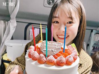 唐田えりかが22歳に♡ 撮影の合間にも、いっぱいお祝いしたのでした【モデルのオフショット】