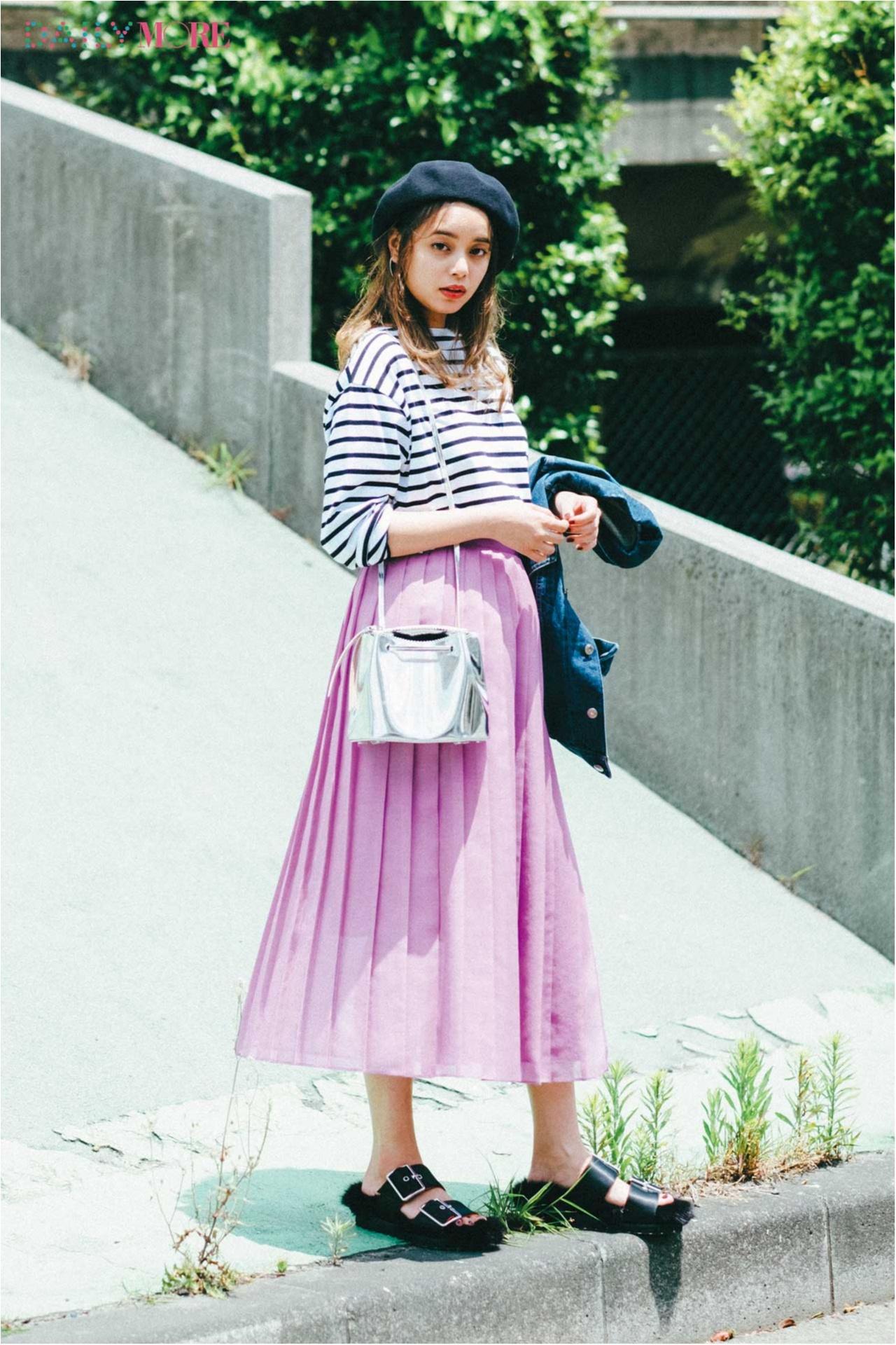 【今日のコーデ/岸本セシル】日曜日のドライブデート。きれい色のプリーツスカートで彼を誘惑しちゃう♡_1