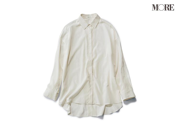 お仕事もデートもまかせて♡ 「とろみ素材の白甘シャツ」の着回しでかなう、4つのコーデ_1