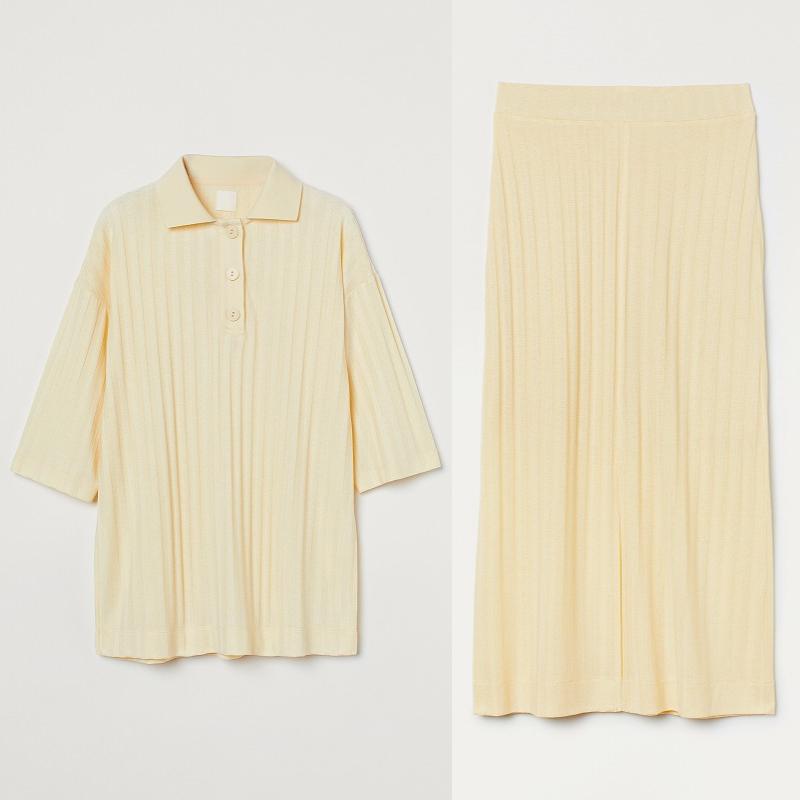 『H&M』の「LET'S CHANGE」キャンペーンコレクションのトップスとスカートの画像