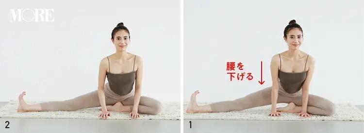 森拓郎ストレッチ法で片足を開脚するモデル