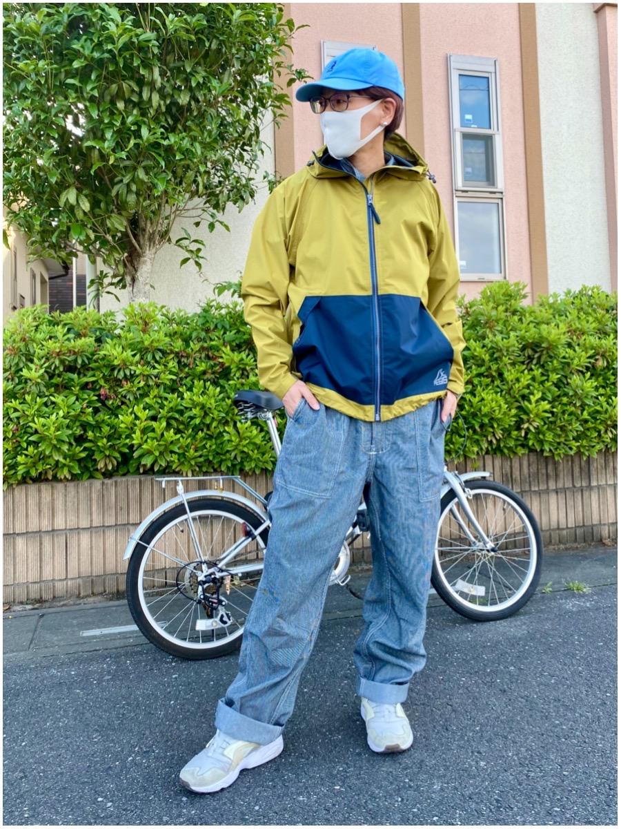 ワークマン WORKMAN #ワークマン女子 レインコート カッパ 2WAY 梅雨 雨の日 コーデ リュック 自転車 バイク 撥水