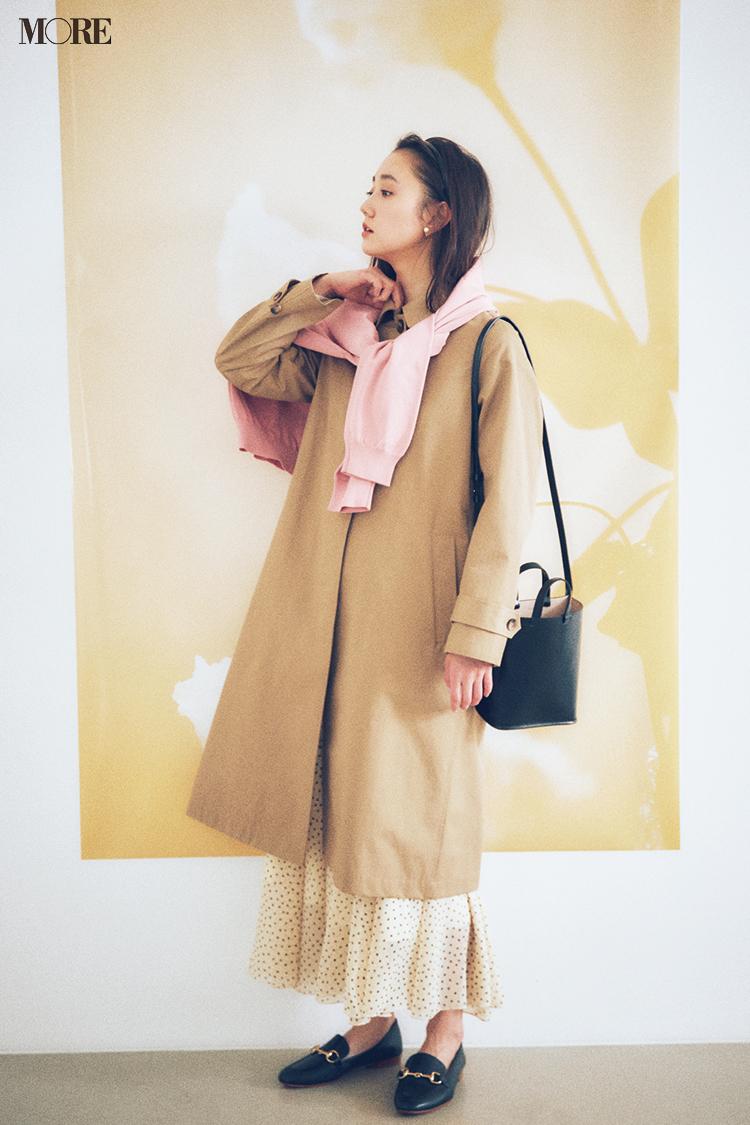 【今日のコーデ】<鈴木友菜>ホワイトデーは彼の家へ。ベージュのスプリングコートとピンクの相思相愛カラーで♡_1