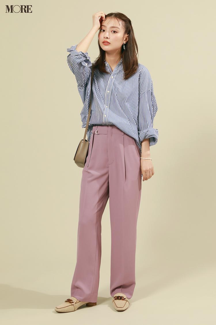 【今日のコーデ】ストライプシャツにピンクのパンツを合わせた内田理央