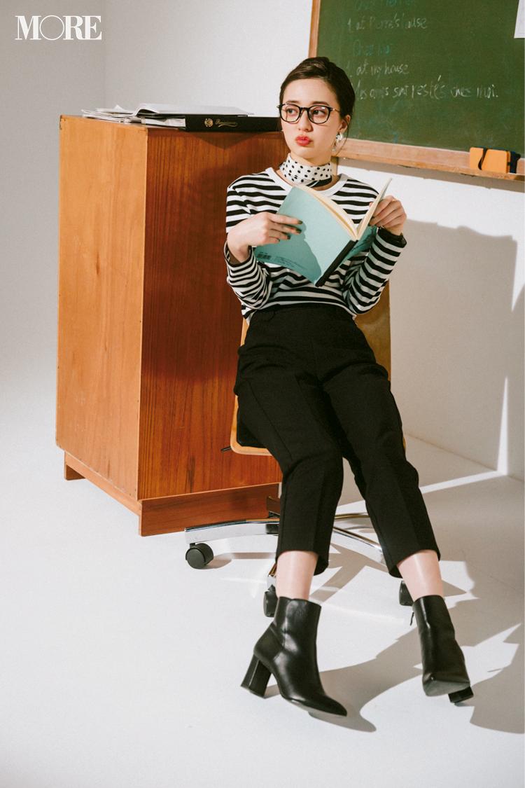 【今日のコーデ】ボーダー×ドットスカーフが技あり! モノトーンで新鮮フレンチシックを堪能♡ 〈逢沢りな〉_1