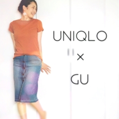 【Q♡code】UNIQLO《リブクルーネックT》×GU《デニムフロントボタンスカート》でプチプラコーデ❤️