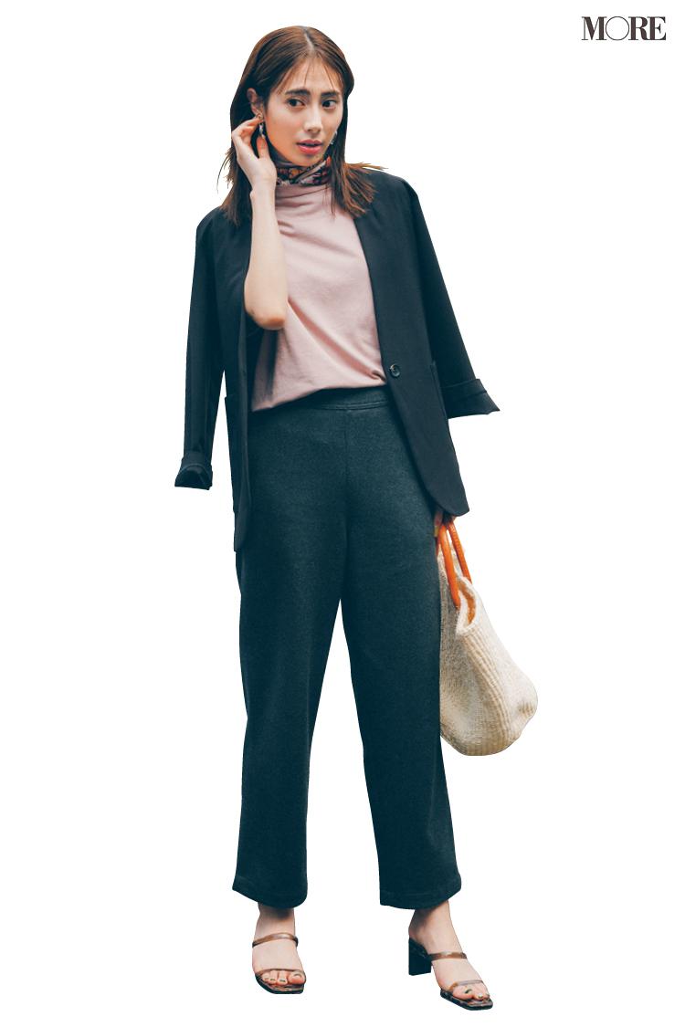 【今日のコーデ】秋素材スラックスにTシャツとジャケットを合わせた土屋巴瑞季