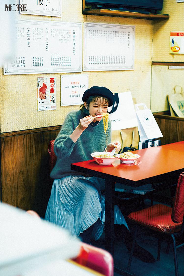 「ラーメンは可愛いニットにも似合う最強飯なのだ」佐藤栞里主演【冬から春へ。手持ち服9着から始める着回し】4日目_1