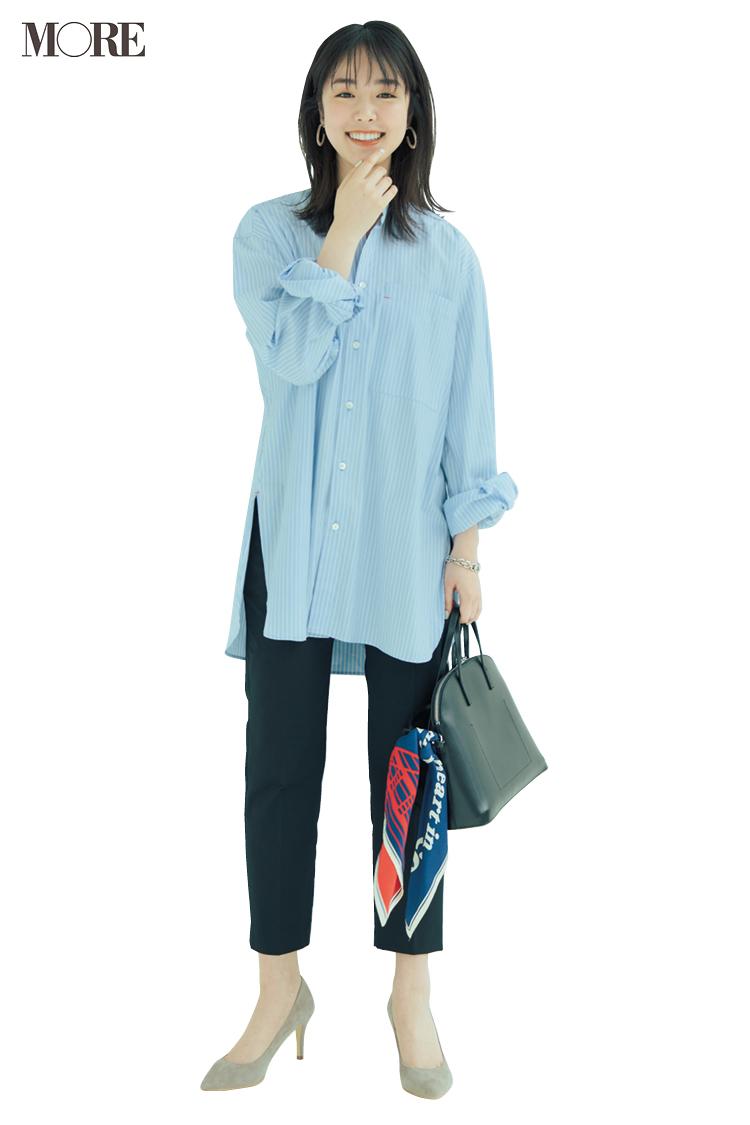 【今日のコーデ】ゆったり着られるチュニック丈のシャツで通勤パンツコーデをブラッシュアップ! <唐田えりか>_1