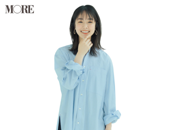 【今日のコーデ】ゆったり着られるチュニック丈のシャツで通勤パンツコーデをブラッシュアップ! <唐田えりか>