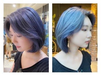 韓国っぽ♡透明感ブルーヘアにしてみました♪