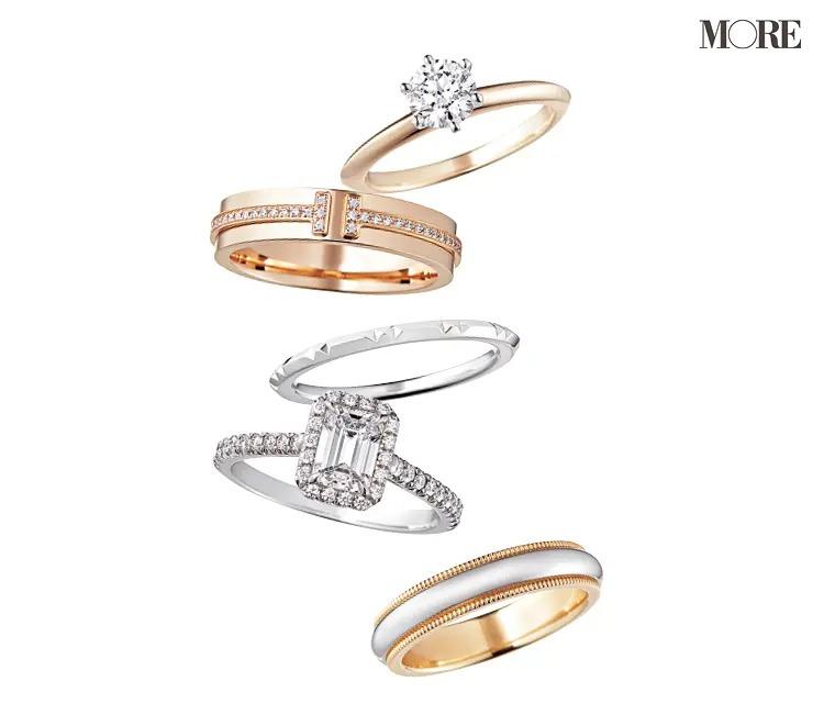 結婚指輪のおすすめのティファニーのエンゲージメントリングとナローリング、トゥルーバンドリング、ソレストエメラルドカットダイヤモンドリング、クラシックミルグレインバンドリング