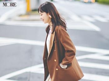 【今日のコーデ】<飯豊まりえ>ニット素材のプリーツスカートで気品あふれる白×ブラウンコーデに