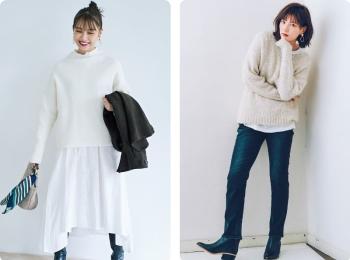 白ニットコーデ【2020冬〜春】- 着膨れしない細見えテクニックなど、白い服の最旬レディースコーディネートまとめ