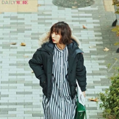【今日のコーデ/篠田麻里子】もこもこダウン×すっきりシャツワンピ。この冬、新しいおしゃれバランスを発見!