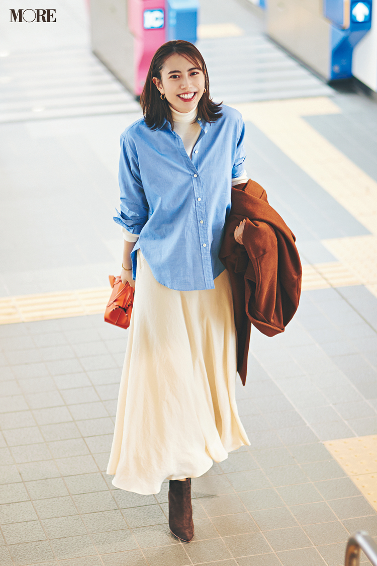 【今日のコーデ】<土屋巴瑞季>懇親会という名の......合コン!?優しげなオフ白スカートに爽やかなシャツで第一印象UP_1
