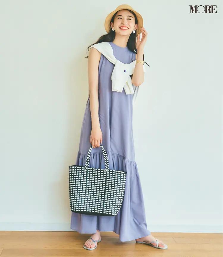 【夏のワンピースコーデ】大人の休日ワンピをサマードレス風に着るならフラットサンダルを