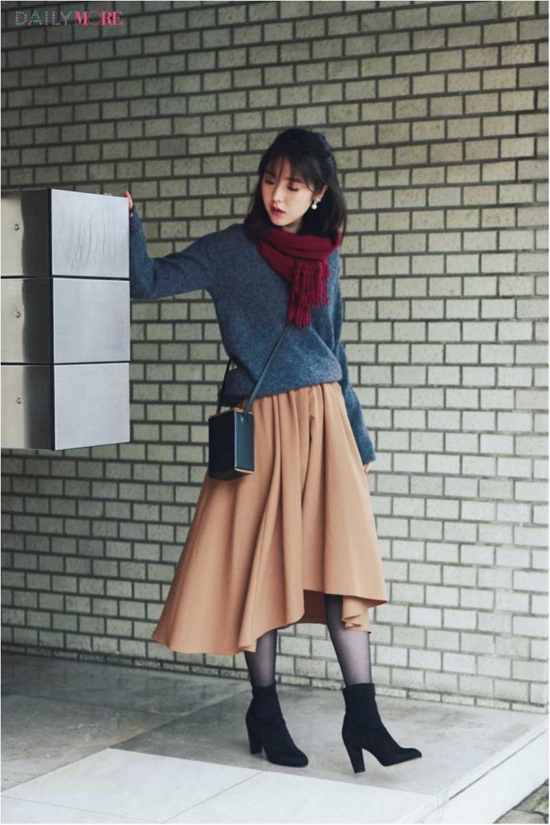 【今日のコーデ】ボリュームスカートには新顔インタータイツで、定番コーデの女らしさをプッシュ♡_1