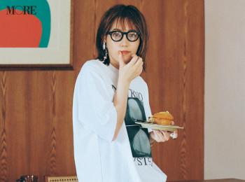 【今日のコーデ】<本田翼>週末気分の水曜はゆるTシャツにクロシェニットスカートでリラックス