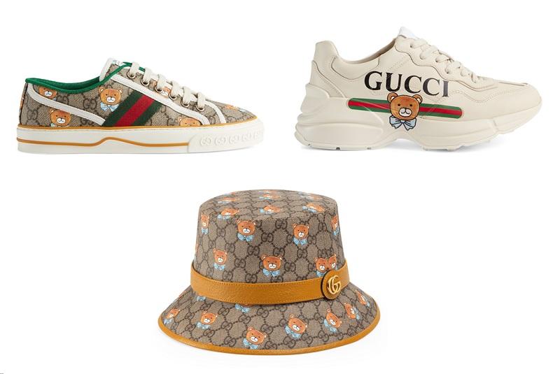 グッチとEXOのカイがコラボした、テディベアコレクションの靴、ハット