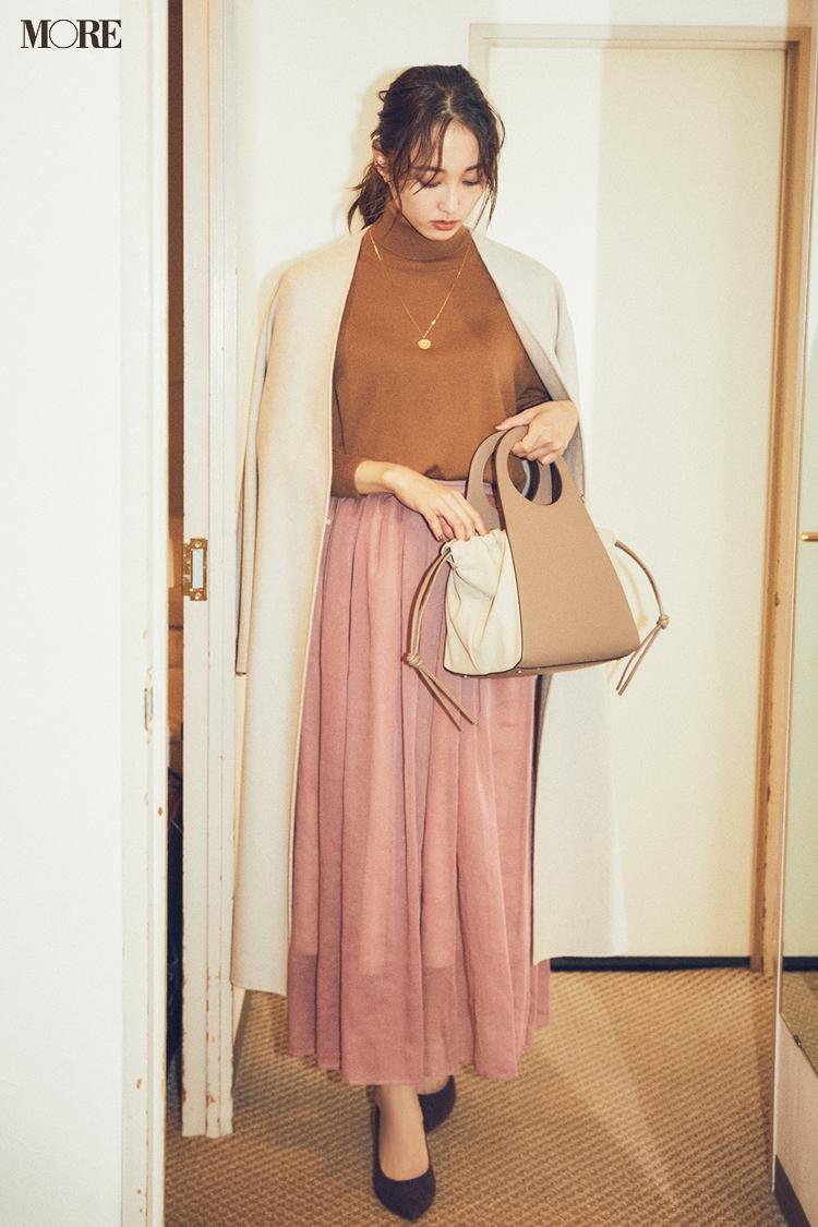 【今日のコーデ】<鈴木友菜>外回りから始まる月曜はブラウンとくすみピンクのフェミニンコーデで好感度高く♡_1