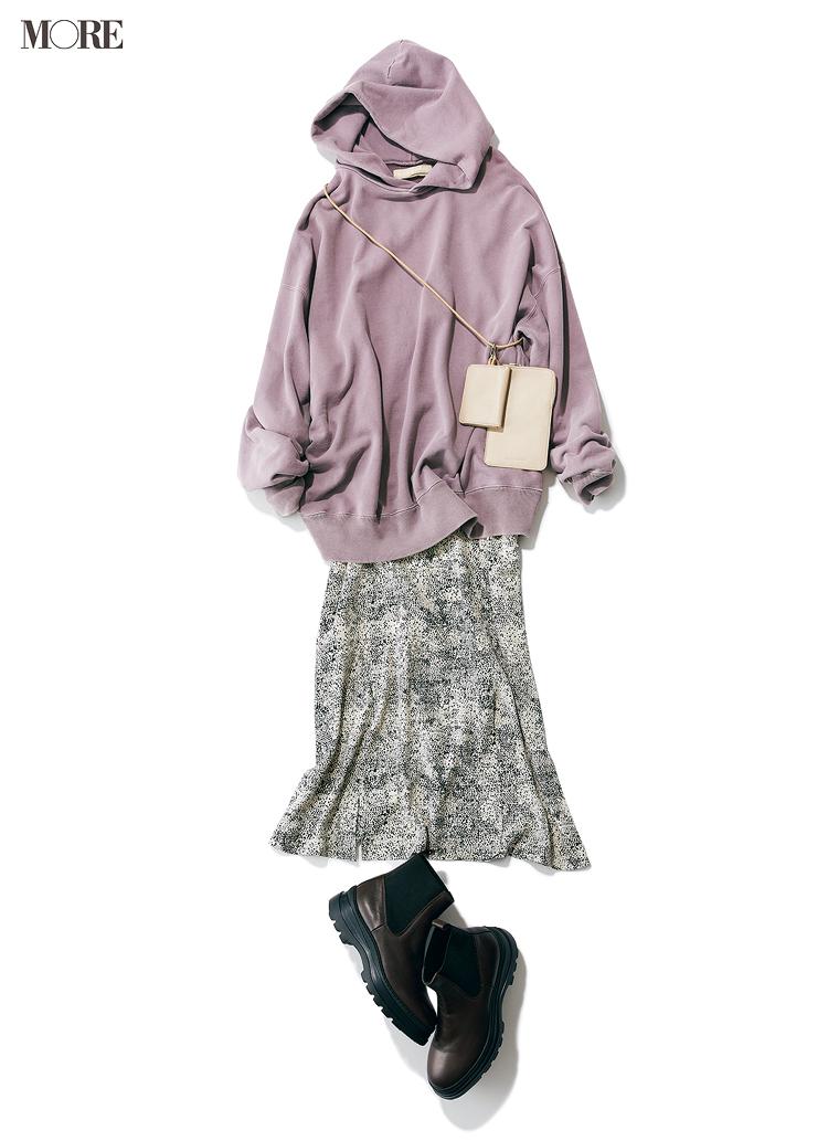 おうちでゆったりも、ちょっとご近所へも、フーディが最強にあざと可愛い説♡ スカートと合わせてみて_4