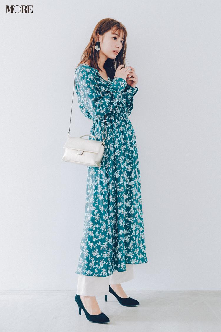 【今日のコーデ】<内田理央>久々のお出かけは花柄ワンピースがいい♡裾からちょこっとレイヤードで今どきに_1