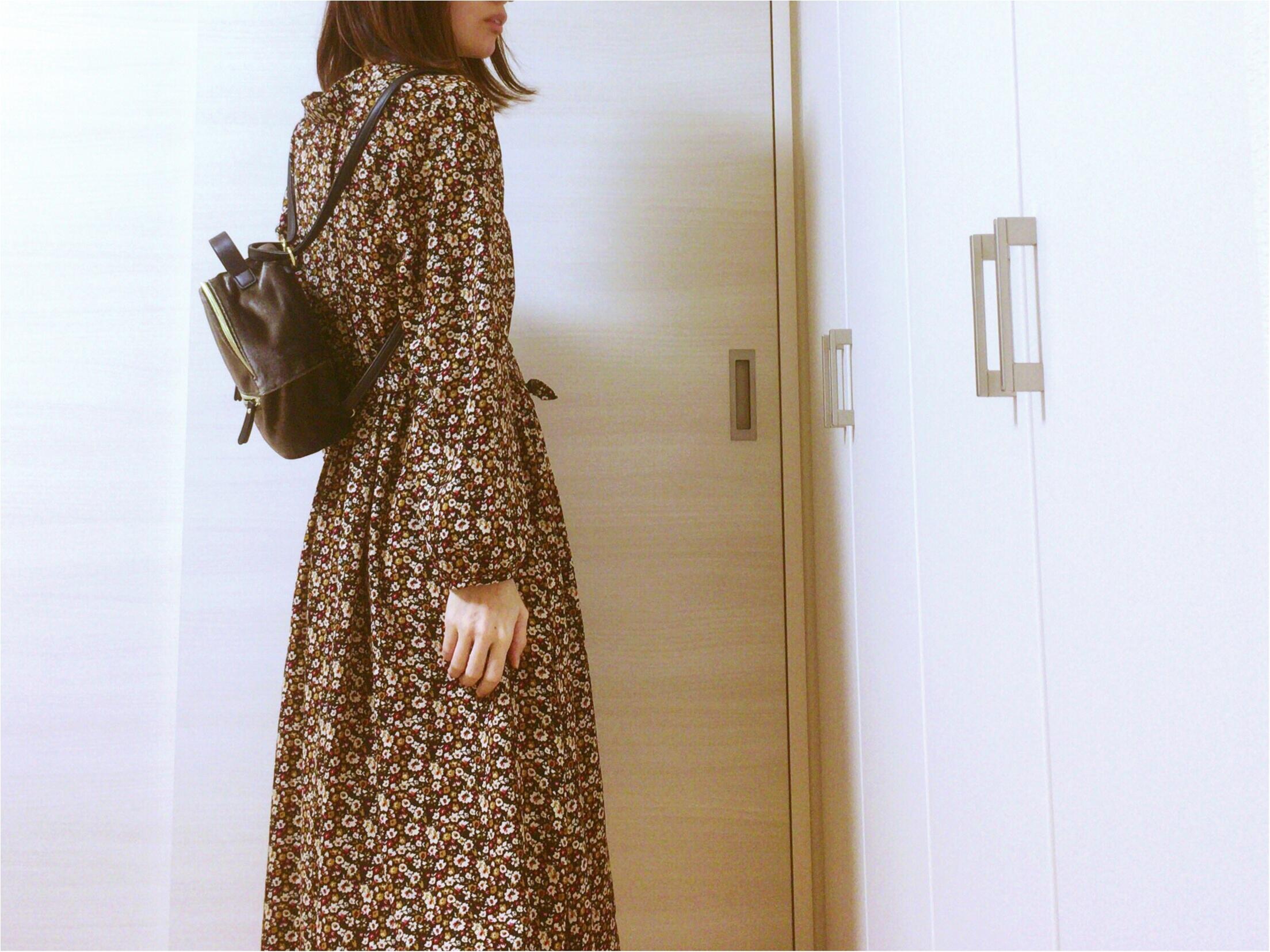 《Honeys》ヴィンテージ風花柄ワンピース【秋冬ファッション】プリプラ楽チンで!可愛いのんGET♡_5