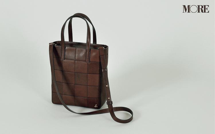アニエスベーの茶色のレザーバッグ