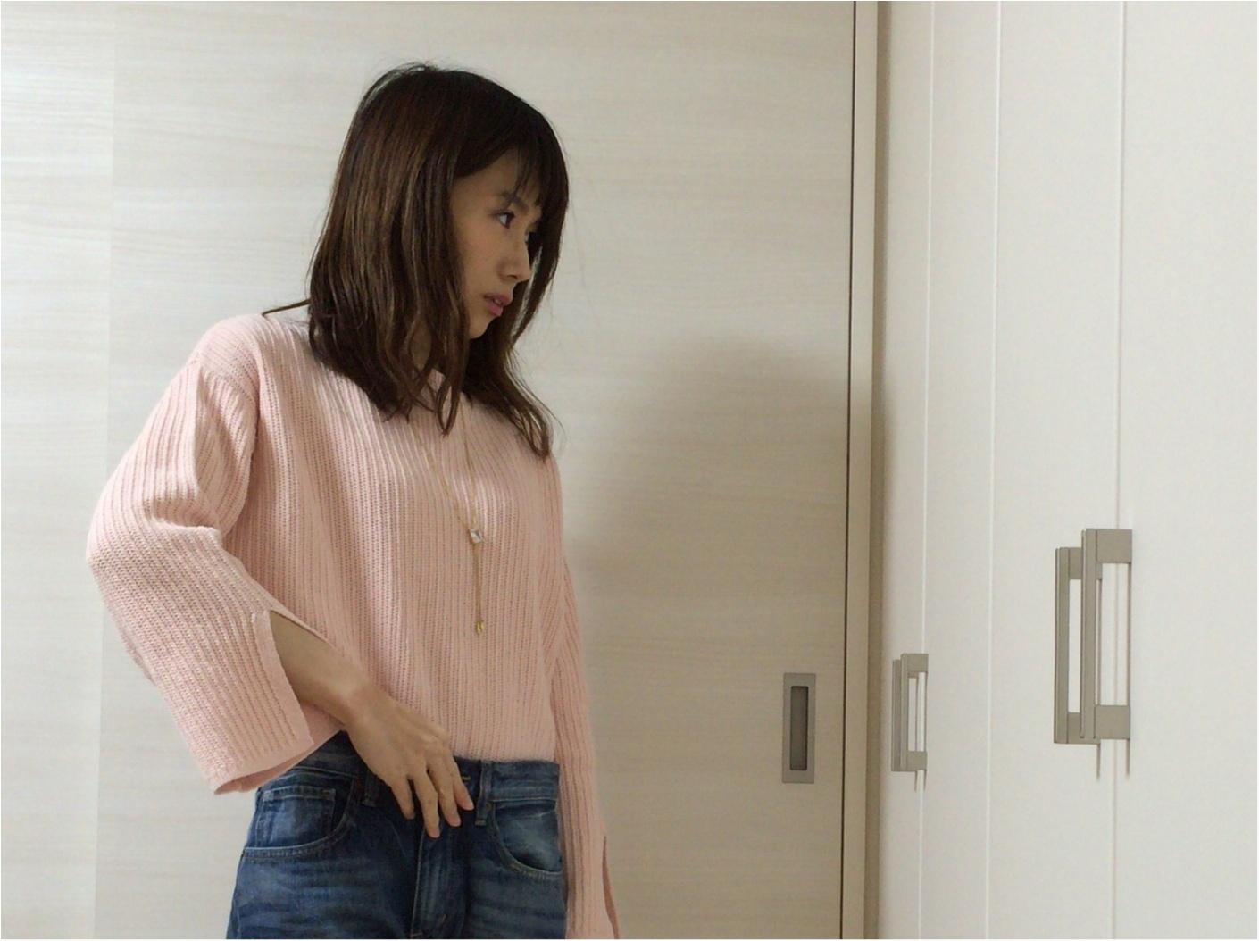 【GU春新作】流行る!馴染みピンクのお袖フレア可愛い♡《カフスリットセーター》_4