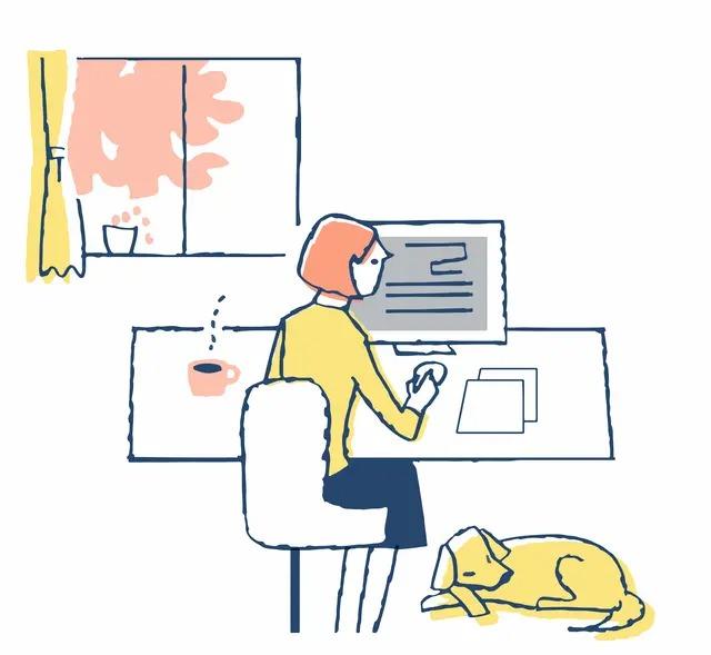 在宅勤務でパソコンを開く女性のイラスト