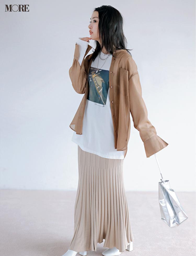 【4990円の透けるシャツ】の実力はいかほどか⁉︎ 内田理央がオンオフ着回し_5