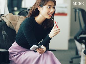 【今日のコーデ】<土屋巴瑞季>連休明けのお仕事コーデはきれい色スカートで好感度高く