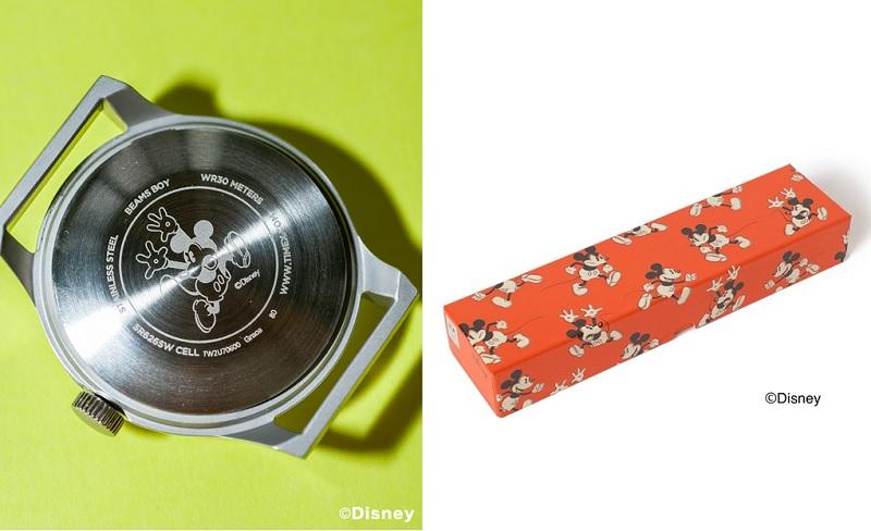 タイメックス×ビームスボーイのディズニー時計、裏側やボックス