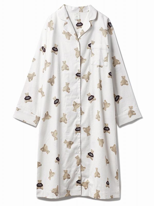ベアネルシャツパジャマ ワンピース