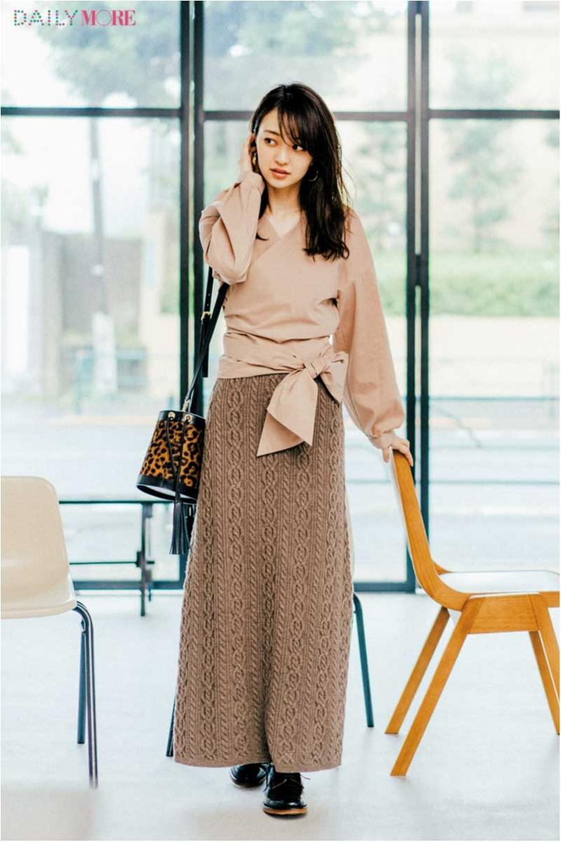 【今日のコーデ/逢沢りな】カシュクールシャツやケーブル編みスカート。ワザありベージュで差をつけて!_1