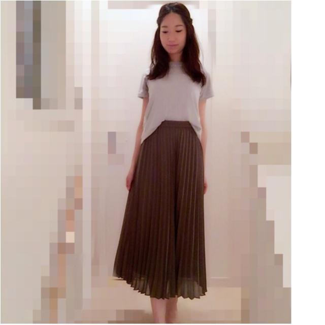 【UNIQLO】美脚になれる!シフォンプリーツスカート(¥1,990)でプチプラコーデ♡UNIQLOのお得情報をリアルタイムにGETする方法も♩≪samenyan≫_4