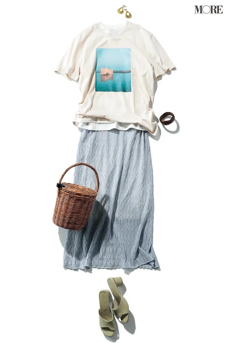 フォトTシャツとロングスカートの夏コーデ