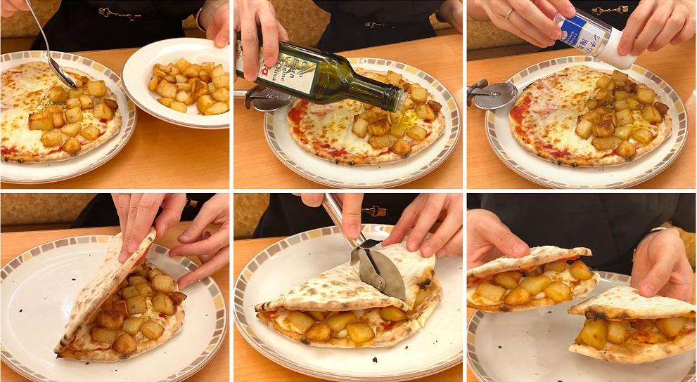 サイゼリヤの「カリッとポテト」と「Wチーズ(ピザ)」をアレンジしている様子