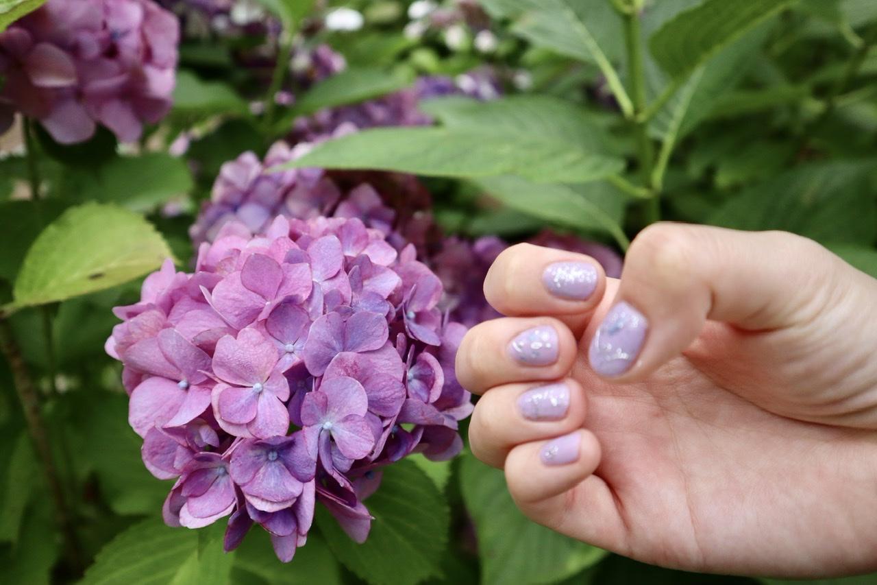 また別の紫陽花とネイルアートを並べて撮影した写真