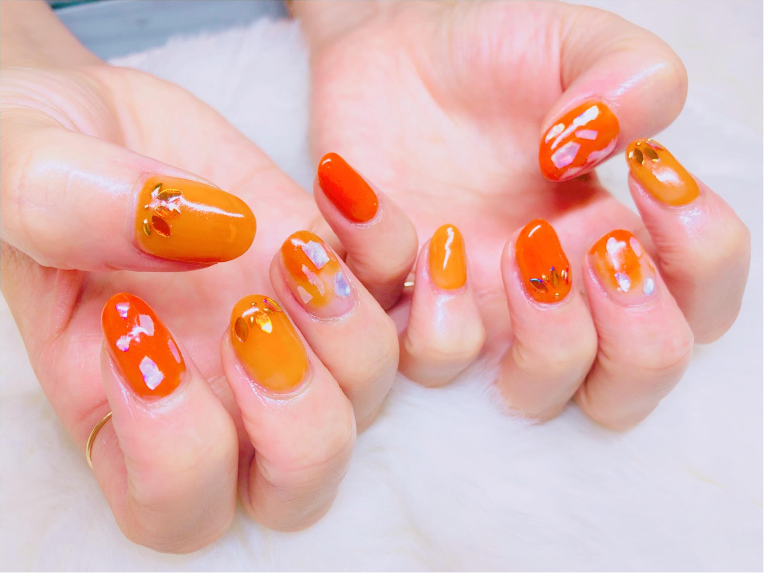 梅雨も明けて夏の始まり!オレンジで元気いっぱいネイル_1