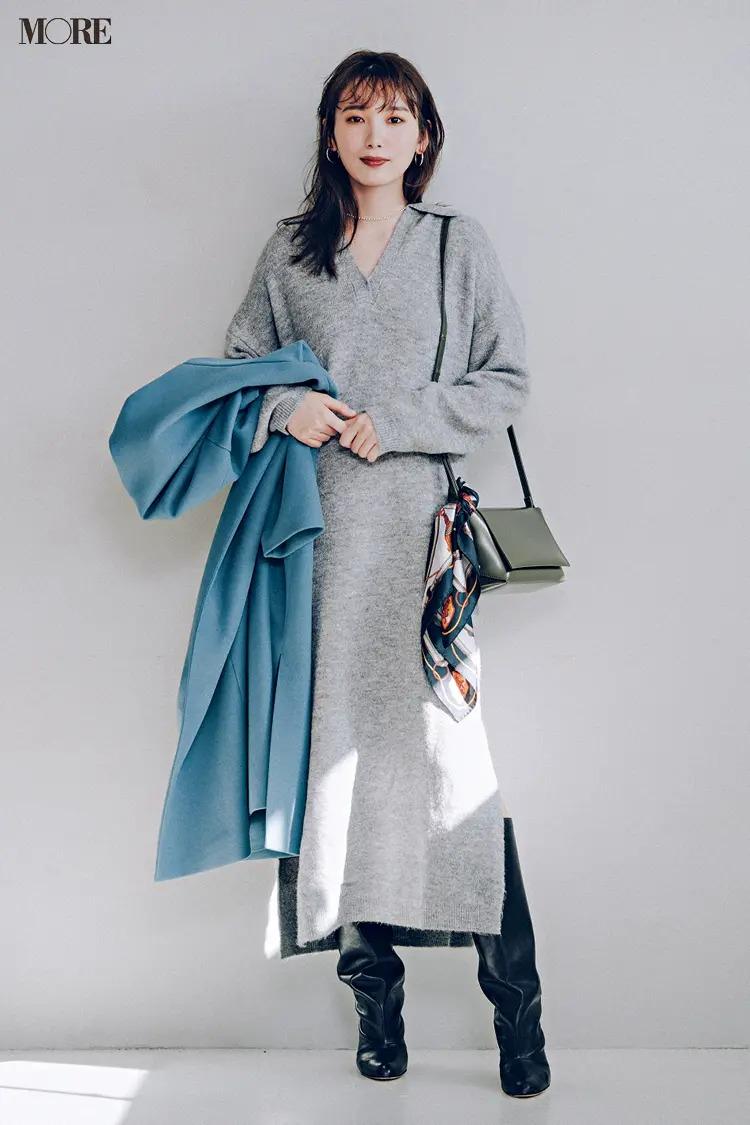 【ニットワンピースコーデ】Iラインを意識したバッグやコートで美スタイル見えをアシスト!