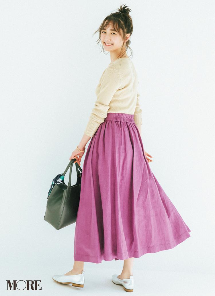 """飛ぶように売れてる春映え""""リネン見え""""スカート。お手入れ簡単、きちんと&軽やかで言うことなし♡_1_1"""