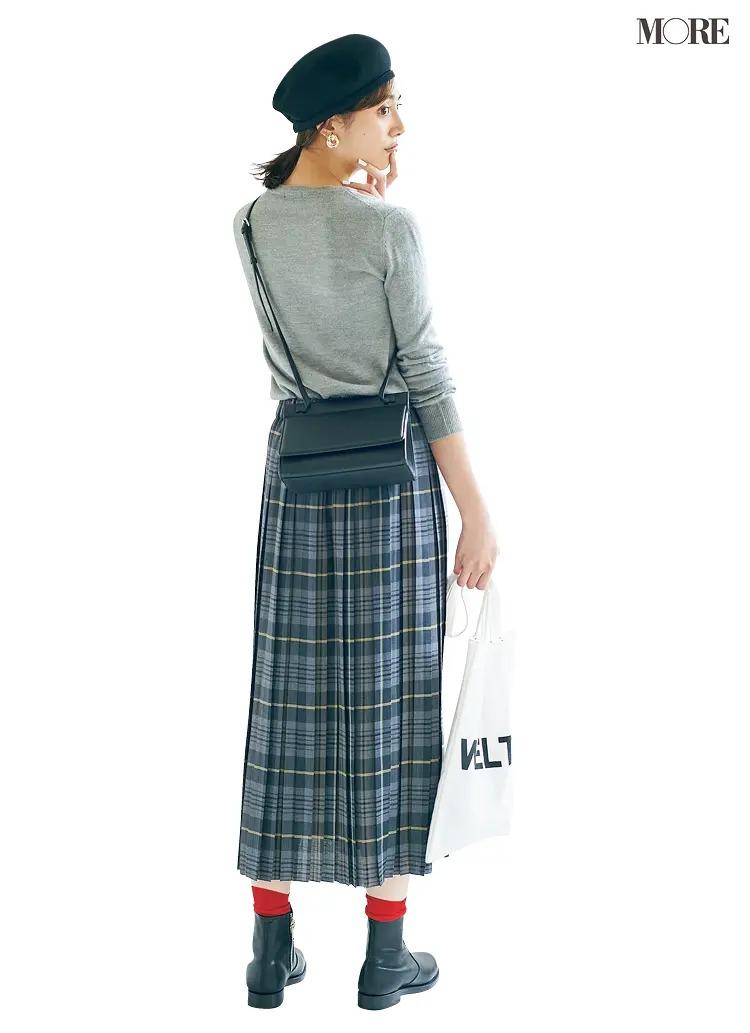 【2020秋コーデ】グレー+グレートーンチェック柄スカートで大人めに