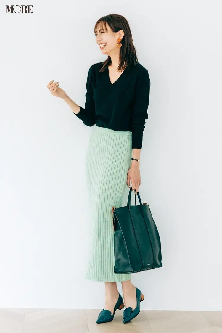【2020-2021冬コーデ】Vニット×リブタイトスカートの細見えコーデ