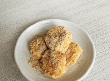 【レンジで簡単おやつ】ヘルシーな豆腐きな粉もち、作ってみました⑅︎◡̈︎*