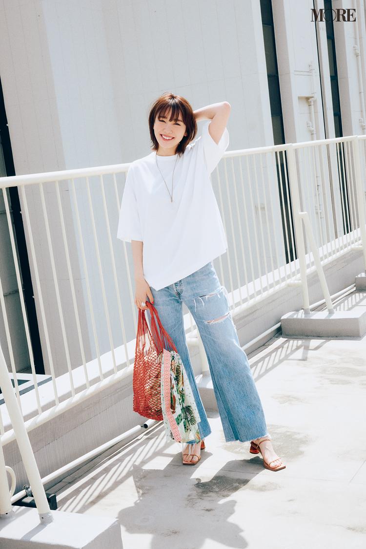 【レディースTシャツコーデ】白Tシャツ×ダメージデニムのコーデ
